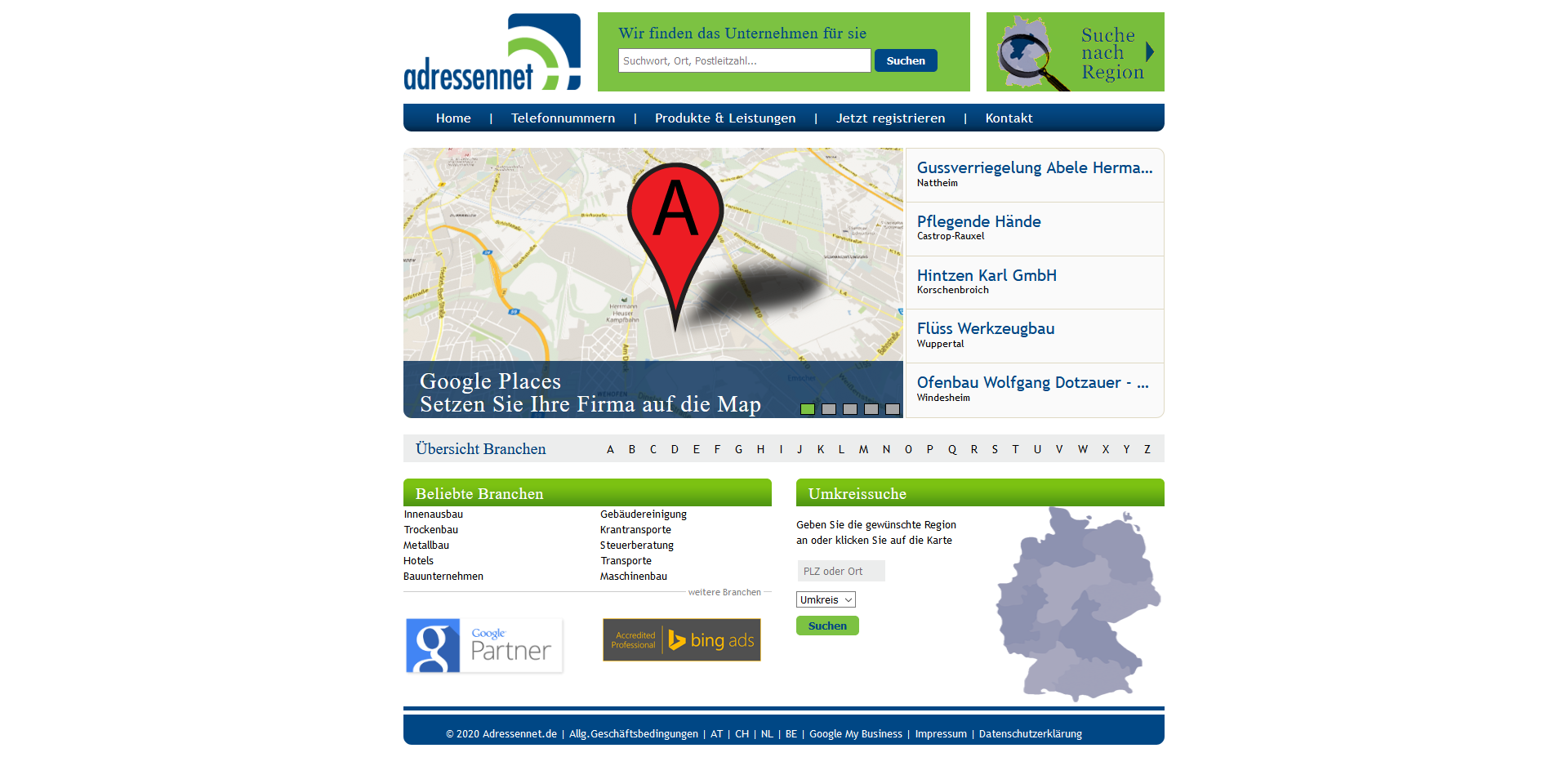 Startseite von Adressennet