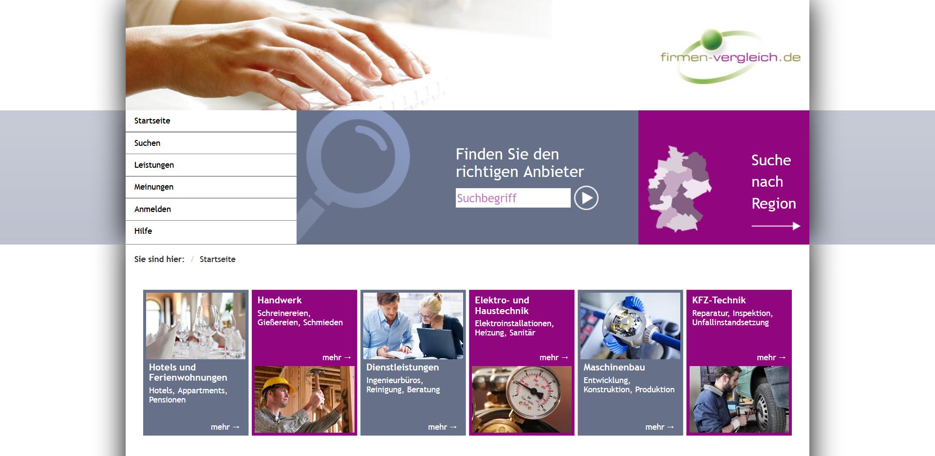 Startseite von Firmen-Vergleich