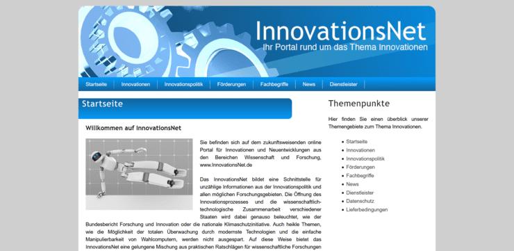 Startseite des Portals Innovationsnet