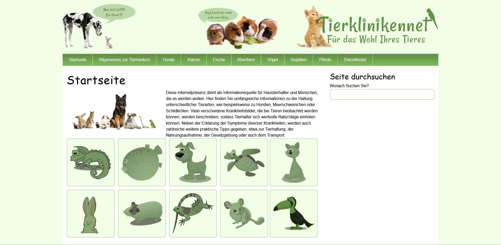 Homepage von Tierklinikennet